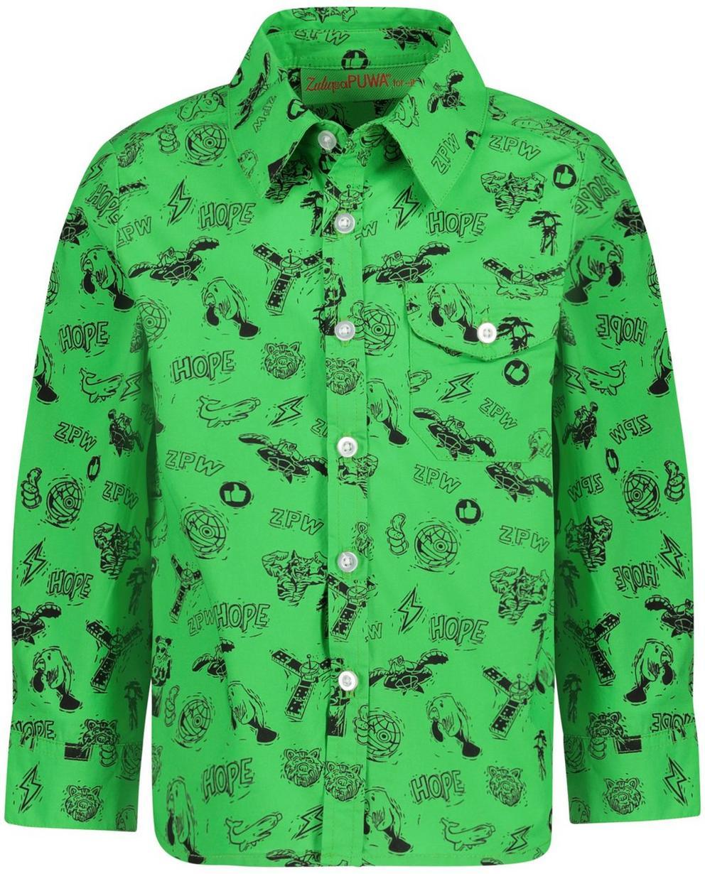 Hemden - GNF - Grasgroen hemd met print